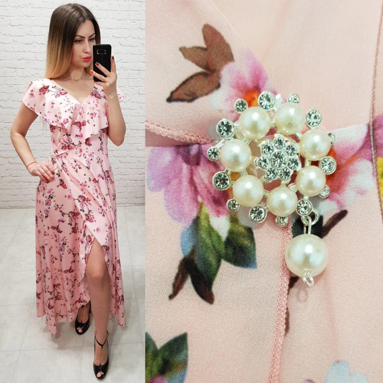 aa984e263a731be Платье длинное в пол на запах с брошью арт. 111 персиковое в цветы -  Интернет