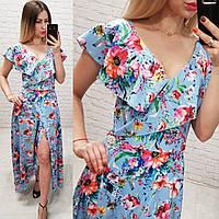 Платье длинное в пол на запах с брошью арт. 111 голубое в цветы