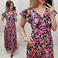 Платье длинное в пол на запах с брошью арт. 111 синее в розы, фото 1