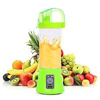 Кружка блендер Juice Cup Green аккумуляторный портативный с поилкой, фото 1