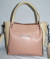 Женская сумка Michael Kors с бусинками по бокам пудровая с бежевым 26*23 см, фото 1