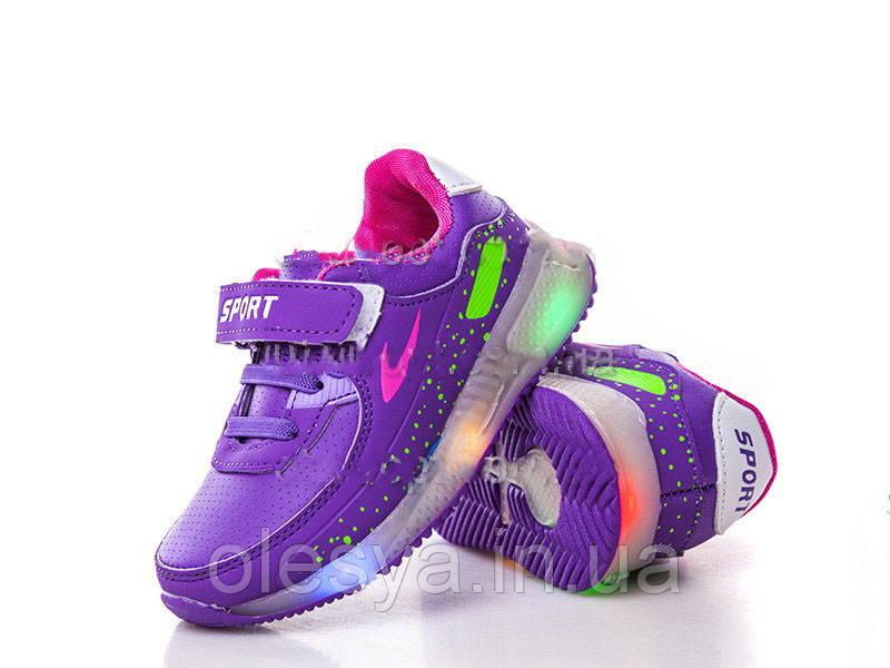 Детские светящиеся кроссовки LED на девочку бренда BBT Размер 28