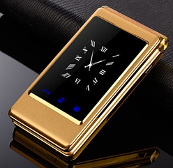 Мобільний телефон Tkexun A15 Flip Gold сенсорний подвійний екран