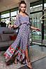 ✔️ Платье женское с открытыми плечами длинное 42-48 размера красный в клетку