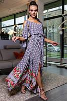✔️ Платье женское с открытыми плечами длинное 42-48 размера красный в клетку, фото 1