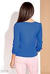 Легкая женская блуза на завязках цвета синий электрик, фото 3