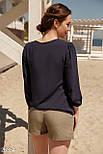 Легкая женская блуза на завязках темно-синего цвета, фото 3