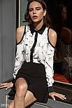 Стильная двухцветная блуза с открытыми плечами, фото 2
