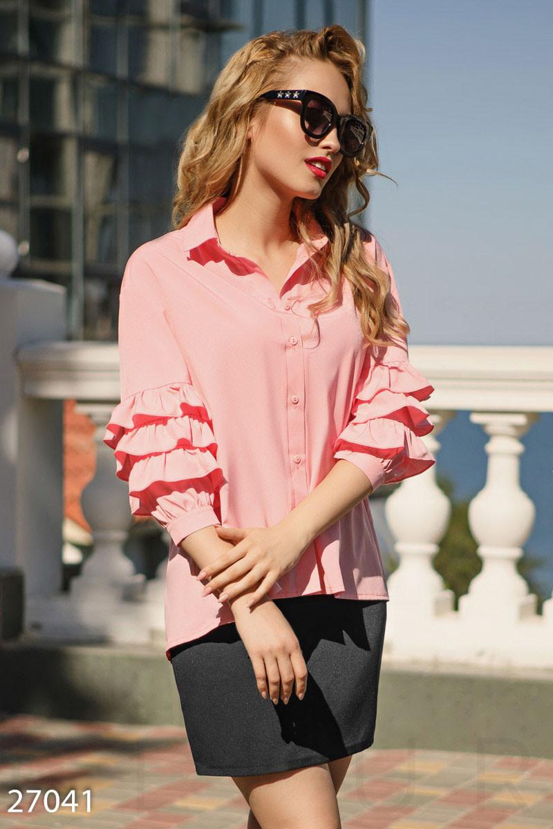 Стильная расклешенная блуза персикового цвета