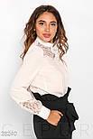 Стильная белая блуза с гипюровыми вставками, фото 2