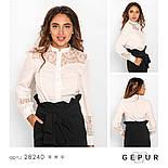 Стильная белая блуза с гипюровыми вставками, фото 4