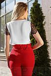 Легка біла блуза зі вставками з гіпюру, фото 3