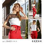 Легка біла блуза зі вставками з гіпюру, фото 4