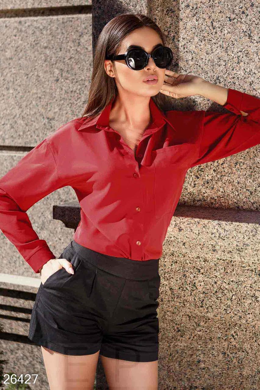Стильная красная блуза-рубашка