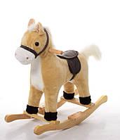 Лошадка-качалка музыкальная MP 0081 (Бежевый)  звук ржания и цокота копыт, шевелится рот +ПОДАРОК