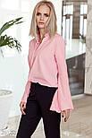 Оригинальная розовая блуза с рукавами-клеш, фото 2