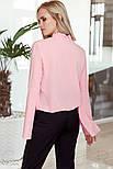Оригинальная розовая блуза с рукавами-клеш, фото 3