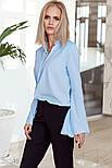 Оригинальная голубая блуза с рукавами-клеш, фото 2