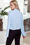 Оригинальная голубая блуза с рукавами-клеш, фото 3