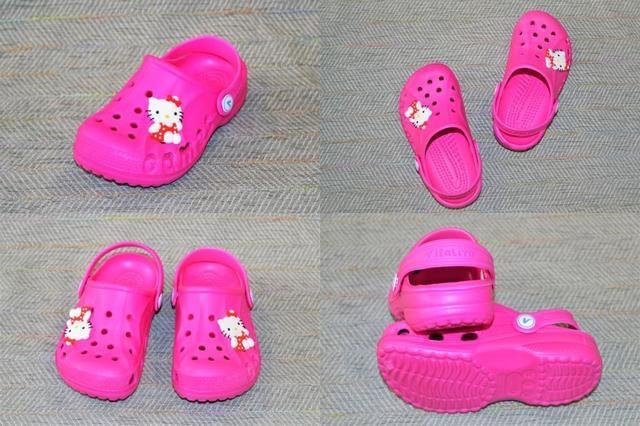 Детские кроксы на девочку, малиновые, Vitaliya Hello Kitty фото