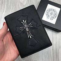 Трендовый бумажник Chrome Hearts черный натуральная кожа Качество кошелек Хайповый Молодежный Хром Хартс копия