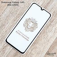 """Защитное стекло Full Glue """"полный клей"""" для Samsung Galaxy A40 (SM-A405) (черный) (клеится всей поверхностью)"""