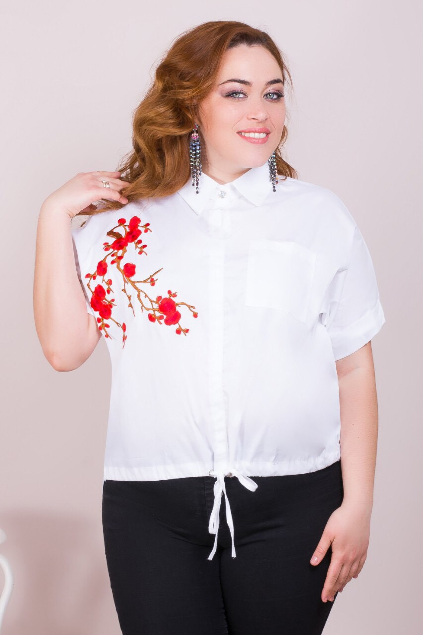 Батальная женская рубашка короткая 52-58 (в расцветках)
