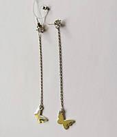 Срібні родированные сережки-вкрутки з ланцюжком та метеликом, фото 1