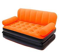 Надувной диван-трансформер Bestway+внешний электронасос 220V 152х188х64 см (оранжевый) (67356)