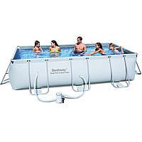 Прямоугольный каркасный бассейн Bestway  +  фильтр-насос 220V (2 006 л/ч)  (404х201х100 см)  ( 56251)