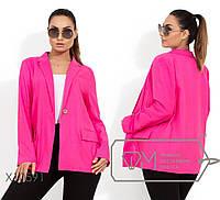 Льняной удлиненный пиджак женский малиновый,батал р.48,50,52,54  Фабрика Моды XL