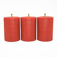Набор Свечей Восковых Eco Candles Красных 3 шт. (8,5х6 см), эко свечи из вощины красные