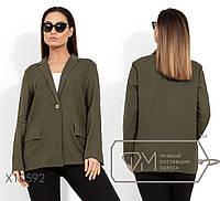 Льняной удлиненный пиджак женский хаки,батал р.48,50,52,54  Фабрика Моды XL