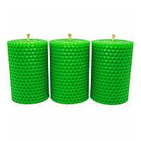 Набор Свечей Восковых Eco Candles Зеленых 3 шт. (8,5х6 см), эко свечи из вощины зеленые