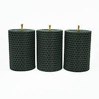 Набор Свечей Восковых Eco Candles Черных 3 шт. (8,5х6 см), эко свечи из вощины черные, фото 1