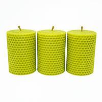 Набор Свечей Восковых Eco Candles Оливковых 3 шт. (8,5х6 см), эко свечи из вощины оливковые, фото 1