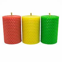 Набор Свечей Восковых Eco Candles Разноцветных 3 шт. (8,5х6 см), эко свечи из вощины цветные