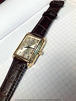 Часы механические Luch 116246 золотистые с арабскими цифрами мужские прямоугольные Беларусь, фото 1