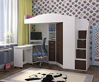 """Кровать чердак со шкафом и столом """"Комби"""" белый+венге магия"""