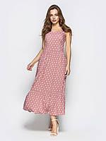 f609e21e703 Стильное летнее платье в ретро-стиле на широких бретелях в горошек р.44