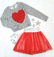 Комплект нарядный юбка+кофта, Ричи, размер 128-152, серый+красный
