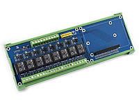 Реле плата розширення для Raspberry Pi (8 реле по 5А) з кріпленням на DIN рейку