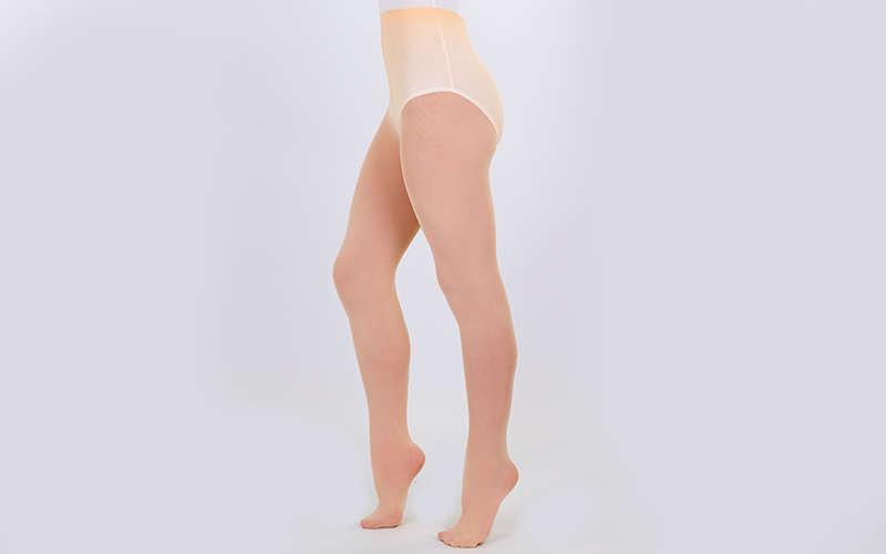 Колготки для танцев и балета с отверстием на стопе Caramel (6-13лет, рост 110-165см, телесные)