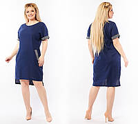 Женские стильное платье с камнями №278 (р.50-64) темно-синий