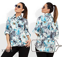 Рубашка из софта женская голубой,батал р.48,50,52,54  Фабрика Моды XL