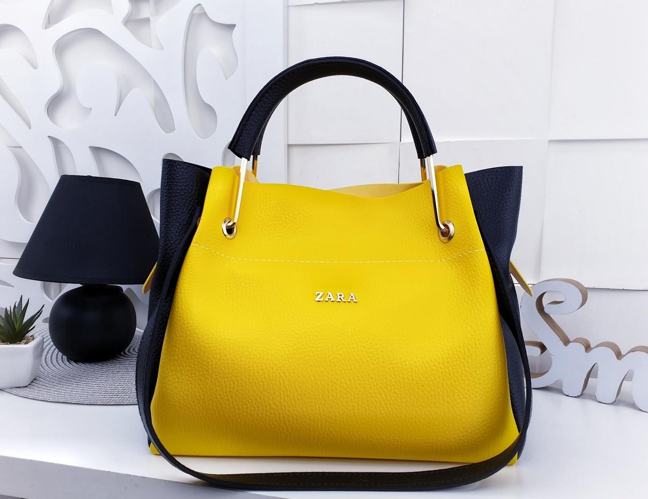 41029952fd3f Женская сумка Zara (копия), из структурной эко кожи в желто-черном цвете