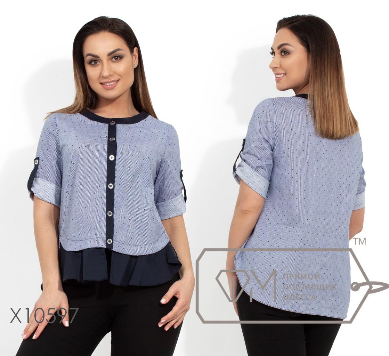 Коттоновая блуза жіноча темно-синій,батал р. 48,50,52,54 Фабрика Моди XL