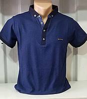 Мужская рубашка поло с  рисунком соты синяя