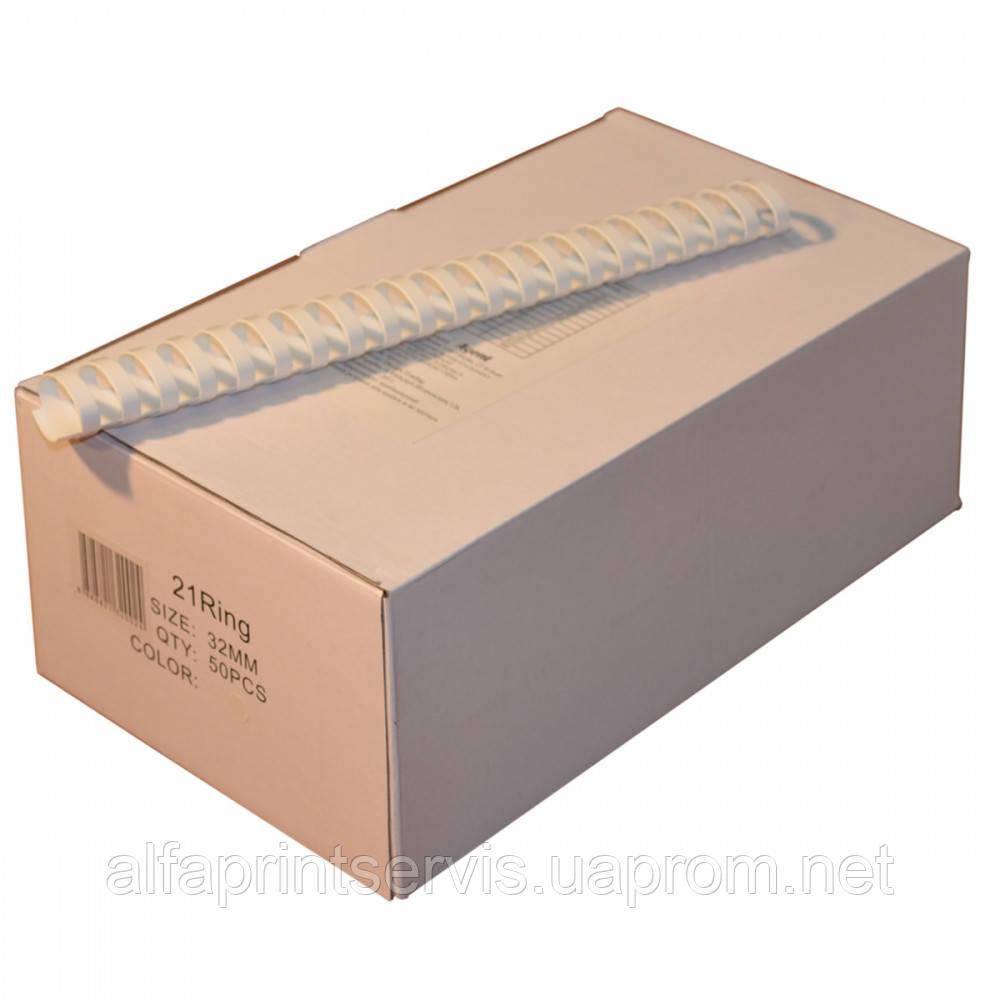 Пружины пластиковые Agent 32мм бел, уп/50.