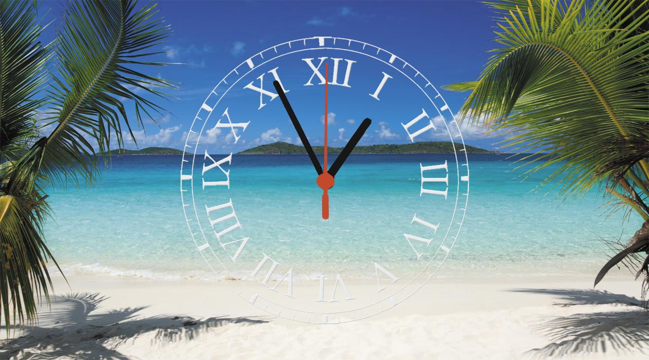 """Годинники настінні скляні """"Пальми на пляжі"""""""
